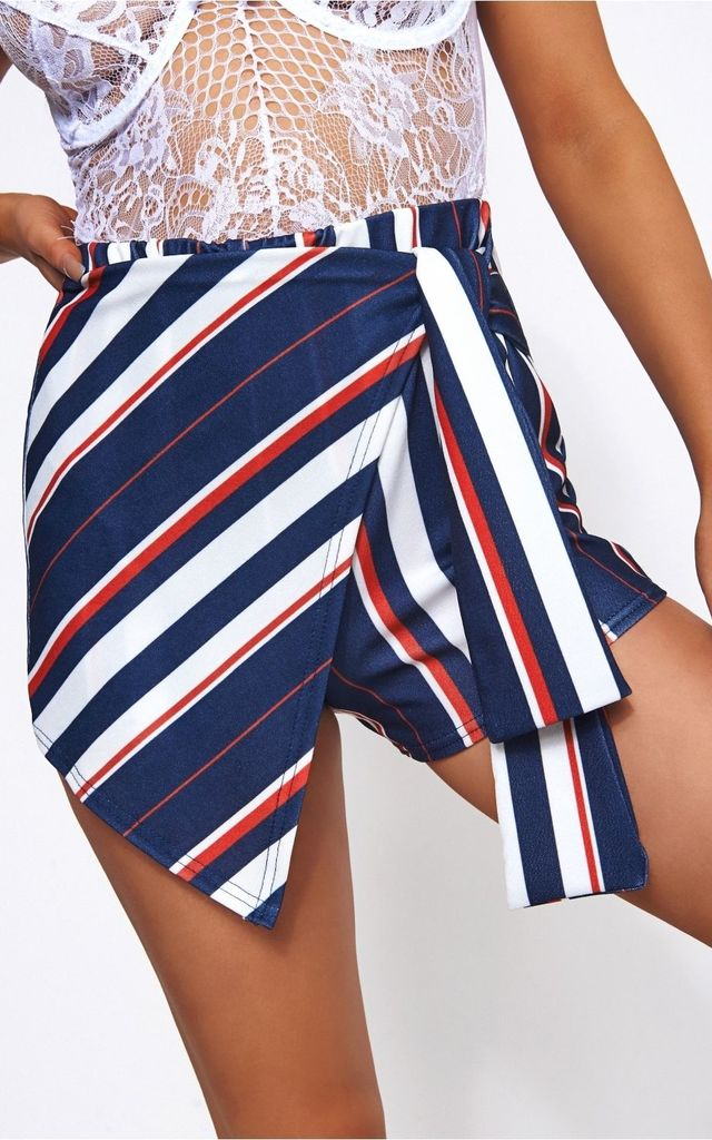 Liana Stripe Tie Front Shorts by The Fashion Bible