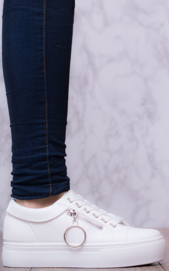 TRUE LOVE Lace Up Flat Trainers Shoes - White Leather Style by SpyLoveBuy