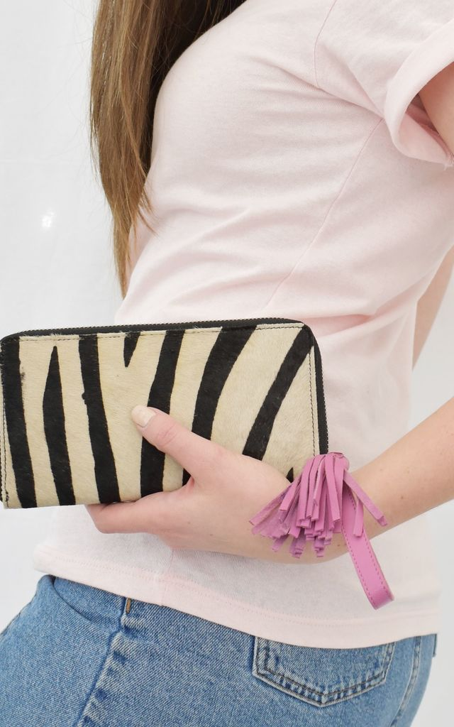 Zip Around Town wallet in zebra and pink by The Foundry Design