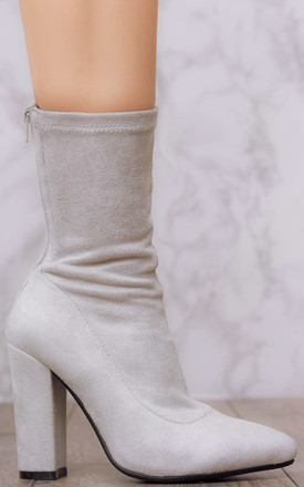 DARK HORSE Sock Top Block Heel Ankle Boots Shoes - Grey Suede Style by SpyLoveBuy