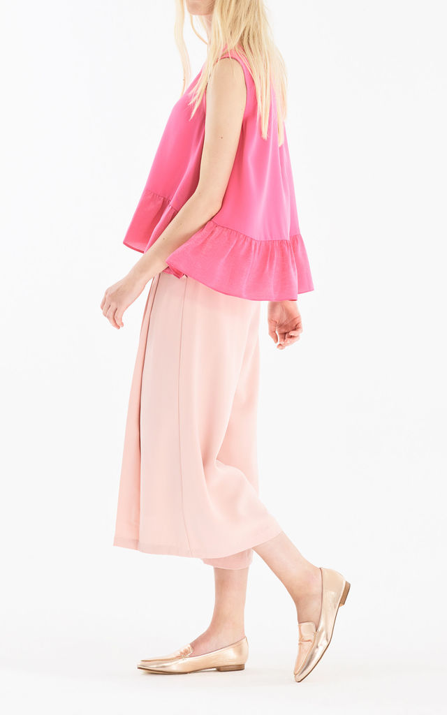 Flared Top with Satin Ruffle Panels in Pink by Paisie