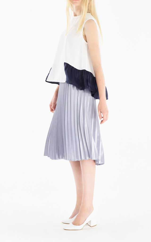 Flared Top with Satin Ruffle Panels in White and Navy by Paisie