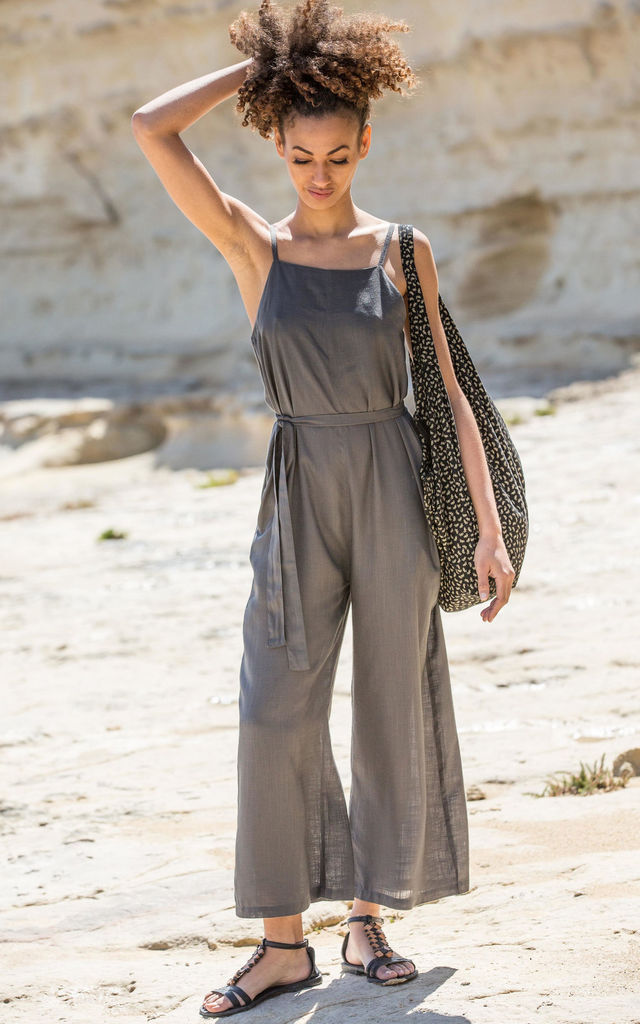 Wide Leg Jumpsuit Adjustable Back Grey by likemary