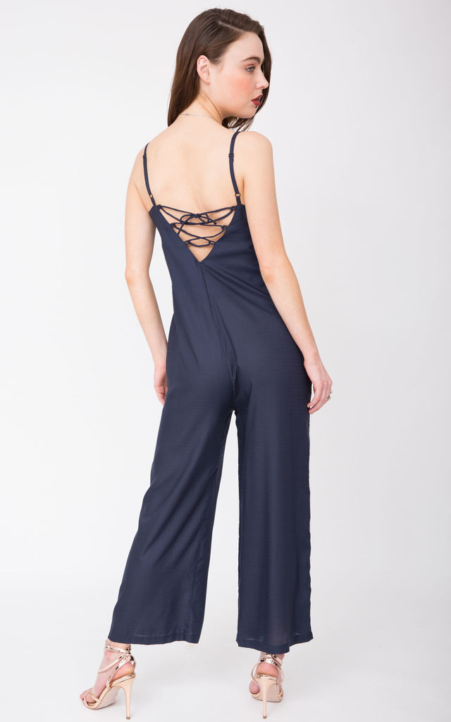 Wide Leg Adjustable Back Jumpsuit Navy by likemary