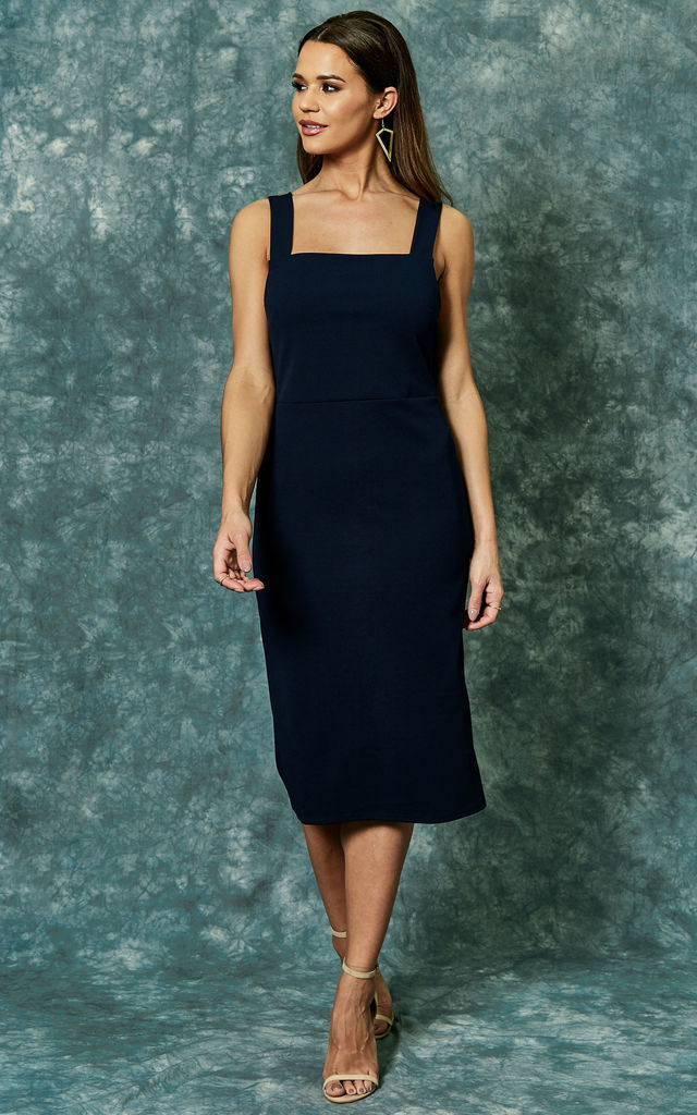 Navy knit tie back shift dress by The Vanity Room