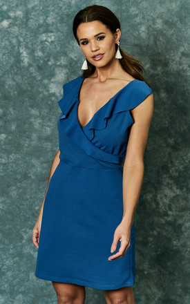 Blue Scuba Crepe Dress With Ruffle Detail by The Vanity Room Product photo