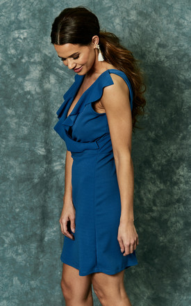 Blue scuba crepe dress with ruffle detail by The Vanity Room