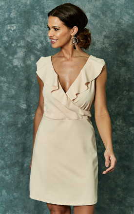 Sand Scuba Crepe Dress With Ruffle Detail by The Vanity Room Product photo