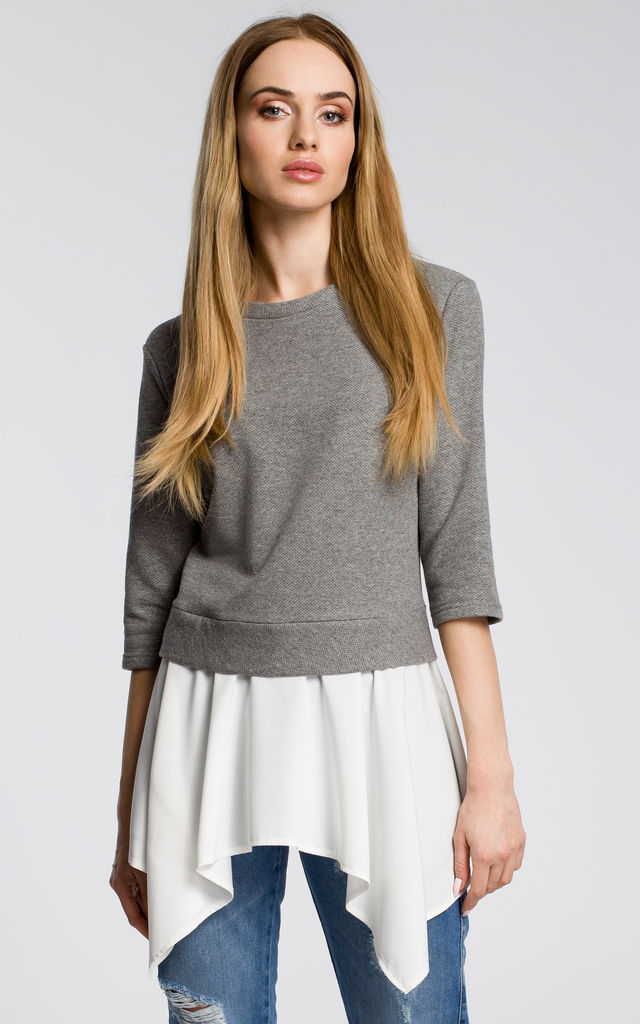 Grey top with white underlay by MOE