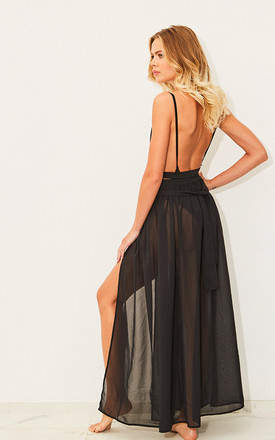 Ring my Bell - Black Ring Belt Chiffon Maxi Skirt by Candypants