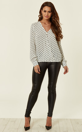 Ivory Polka Dot Crepe Wrap Top by MISSI LONDON Product photo