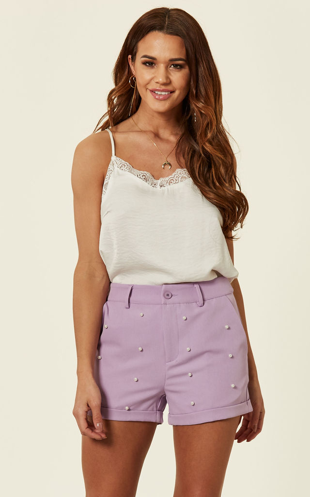 Lilac Pearl Tailored Shorts by MISSI LONDON