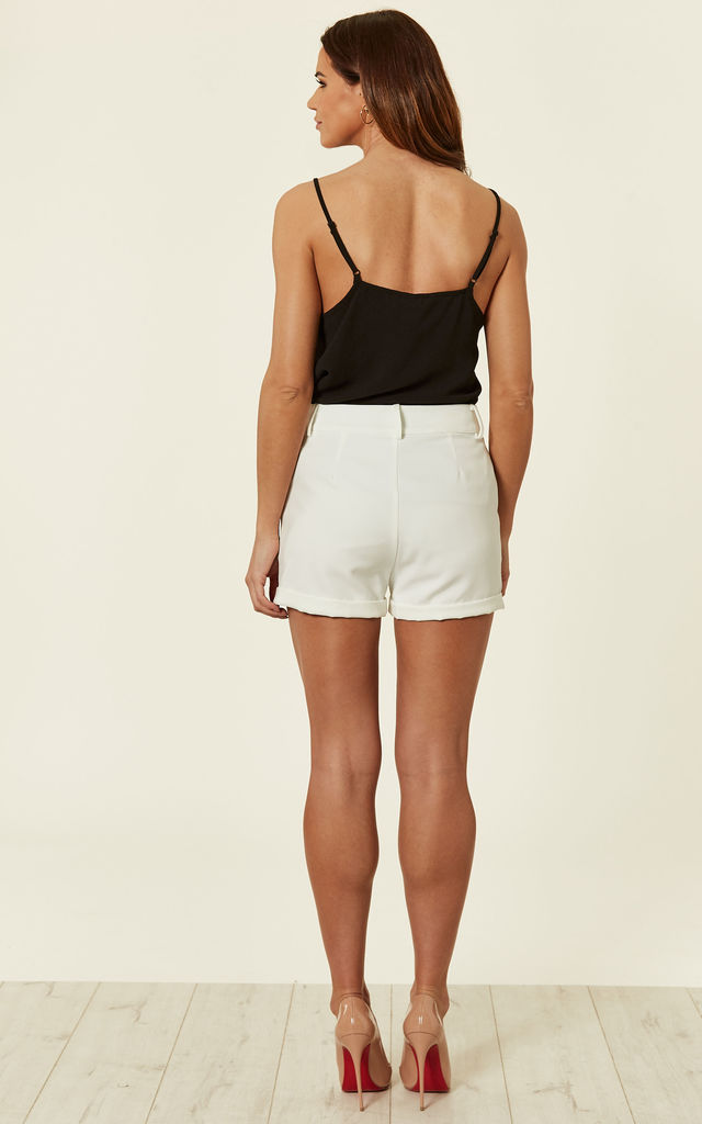 Ivory Pearl Tailored Shorts by MISSI LONDON