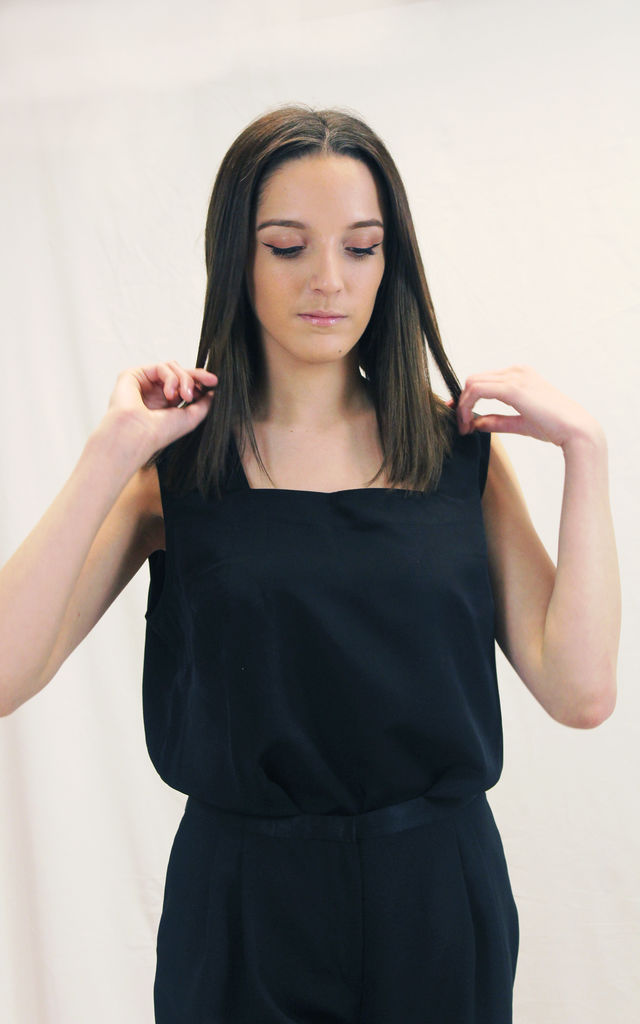 Lilian - Black Square Neck Top by Madia & Matilda