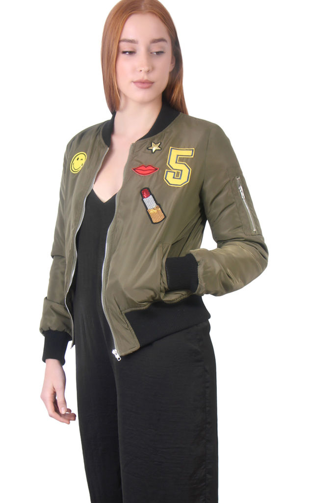 Khaki Long Sleeves Collared Satin Bomber Jacket by MISSTRUTH