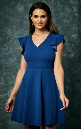 Sailor Blue Knit Crepe Fit & Flare Dress With Ruffle Detail by The Vanity Room Product photo