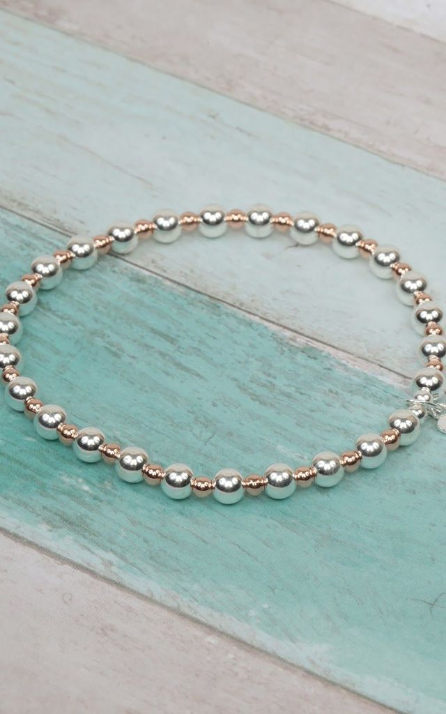 Sterling Silver & Rose Gold Mixed Beaded Stretch Bracelet by Kelly England Handmade Jewellery