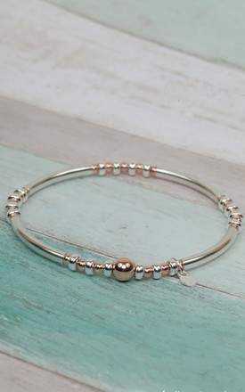 Sterling Silver & Rose Gold Noodle Stretch Bracelet by Kelly England Handmade Jewellery