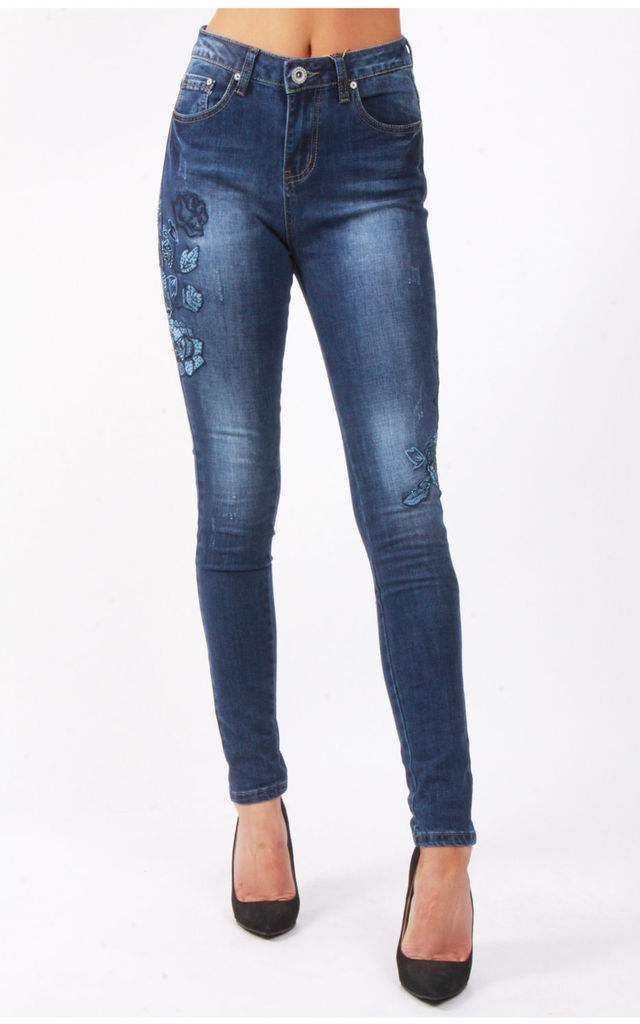 Blue Flower Applique Denim Blue High Waist Skinny Jeans by Urban Mist