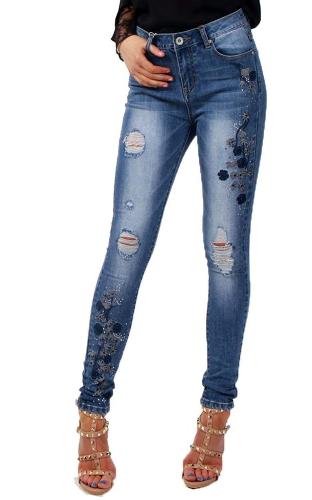 Blue Floral Embroidered Diamante Detail Skinny Jean by Urban Mist