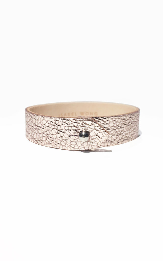Pink Leather Cuff by Isabel Wong