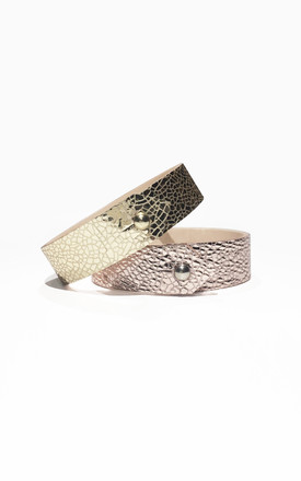 Gold Leather Cuff by Isabel Wong