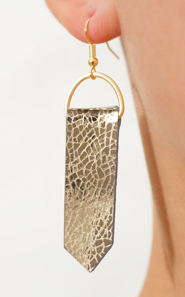 Gold Arrow Leather Earrings by Isabel Wong
