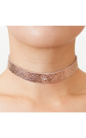 Metallic Pink Leather Choker by Isabel Wong Product photo
