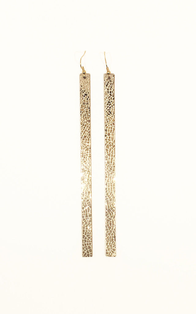 Long Mirror Drop Earrings Gold by Isabel Wong