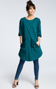 Green oversized tunic top with front pockets by MOE