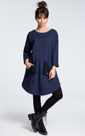 Navy blue oversized tunic top with front pockets by MOE