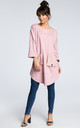 Pink oversized tunic top with front pockets by MOE