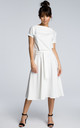 Tie waist midi dress in white by MOE
