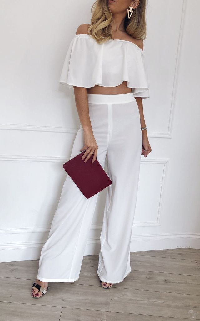Aurora Trouser Coord - White by Pretty Lavish