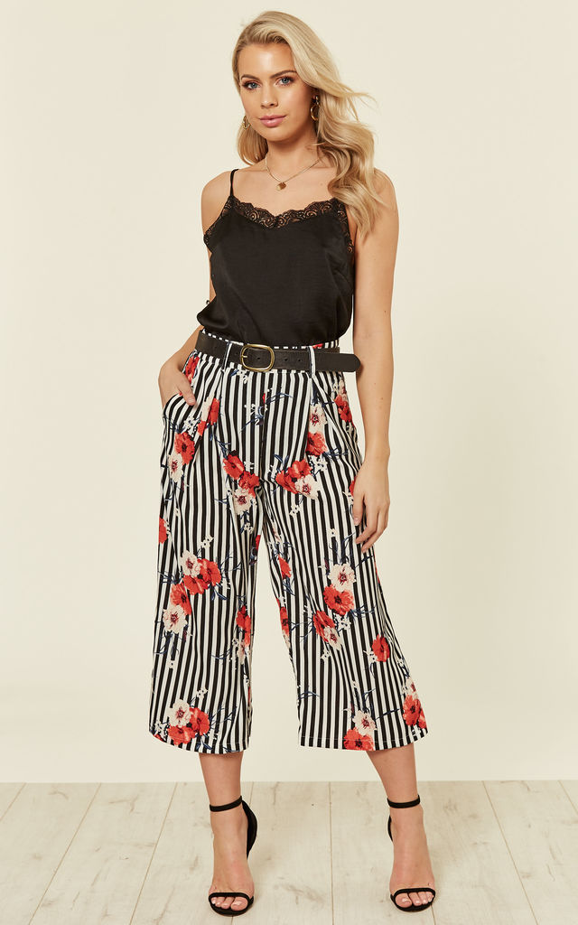 Monochrome Stripe Floral Culotte Pants by MISSI LONDON