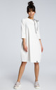Oversized midi dress with 3/4 sleeves in white by MOE