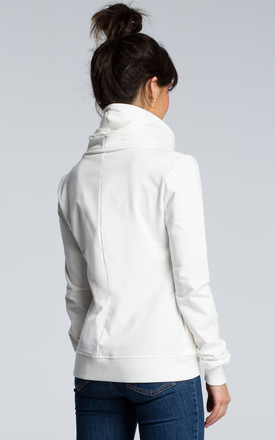 Sweater with asymmetric zip  in white by MOE