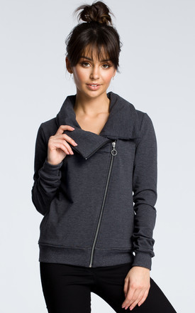 Dark Grey Zipped Long Sleeve Sweatshirt With High Collar by MOE Product photo