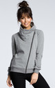 Grey zipped long sleeve sweatshirt with high collar by MOE