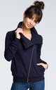 Navy blue zipped sweatshirt with high stand-up collar by MOE
