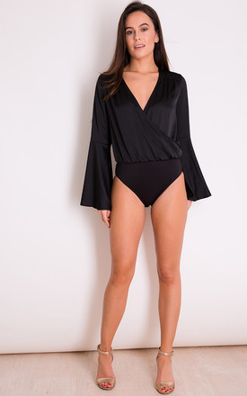 Gigi Wrap Flute Sleeve Bodysuit Black by Girl In Mind