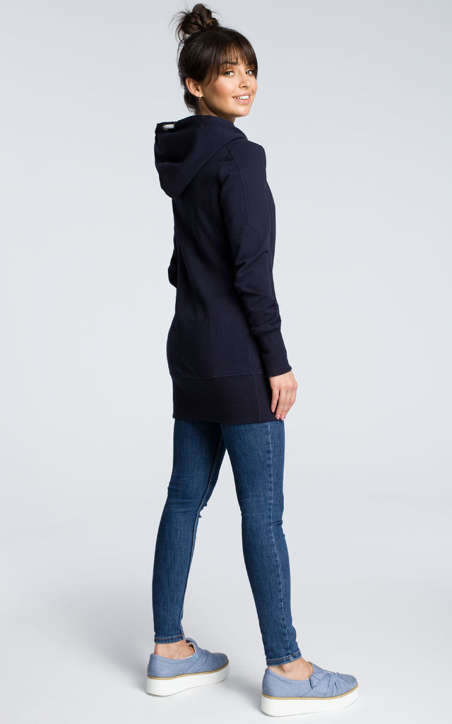 Navy blue long sleeve top with hood by MOE