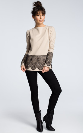Beige long sleeve top with lace hem by MOE