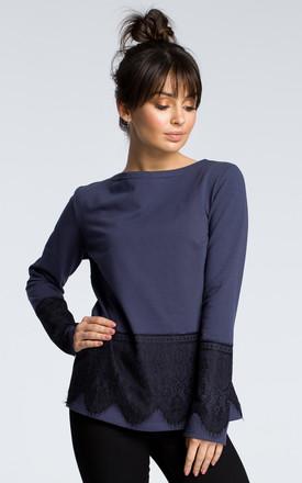 Navy blue long sleeve top with lace hem by MOE