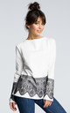 Long sleeve top with lace trims in white by MOE