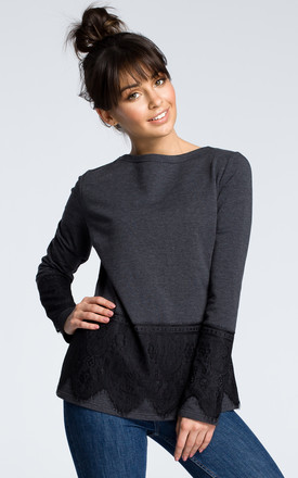Dark grey long sleeve top with lace hem by MOE