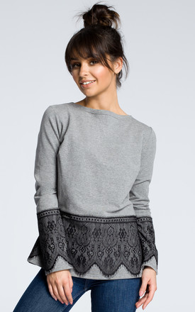 Grey long sleeve top with lace hem by MOE