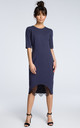 Navy blue midi dress with a lace hem by MOE