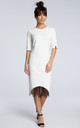 Midi shift dress with lace hem in white by MOE