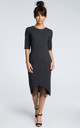 Dark grey midi dress with a lace hem by MOE
